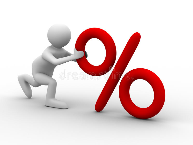 Download Men Push Percent On White Background Stock Photos - Image: 12046373