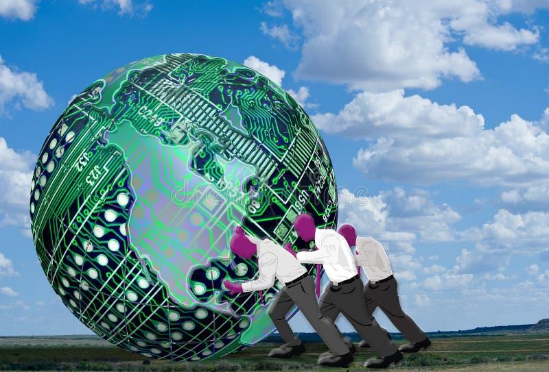 Men pushing technology globe vector illustration