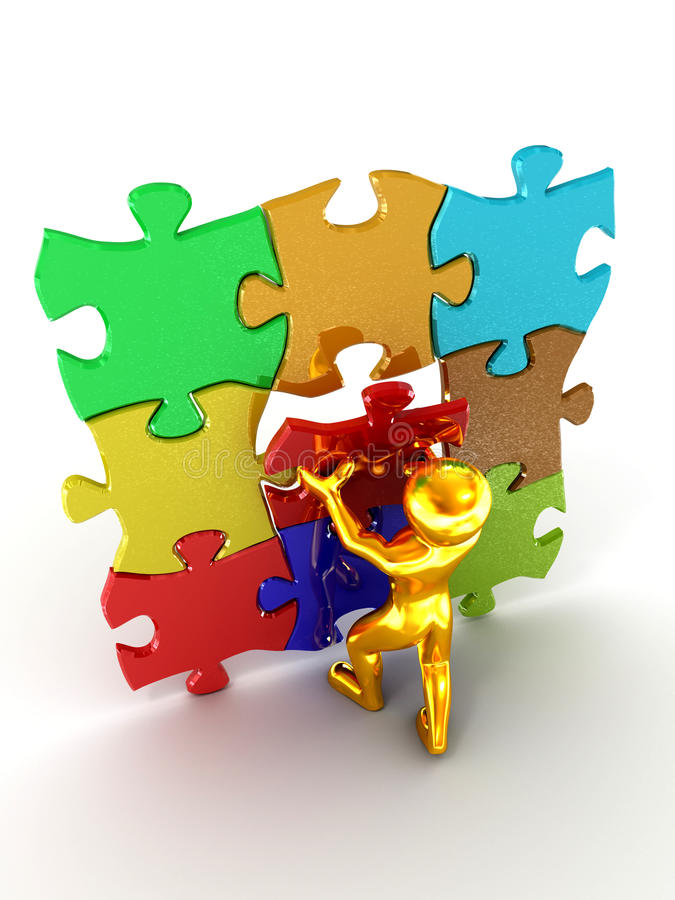 Download Men with puzzle stock illustration. Illustration of abstract - 12374724