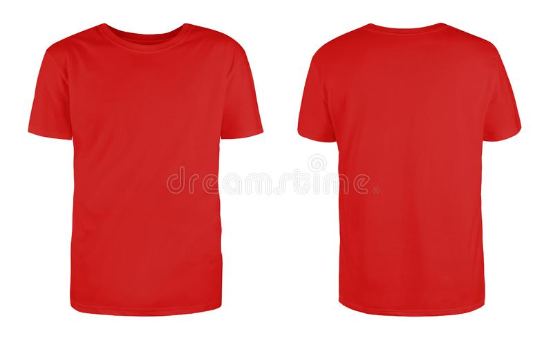 Men red blank T-shirt template,from two sides, natural shape on invisible mannequin, for your design mockup for print, isolated on. White background royalty free stock photo