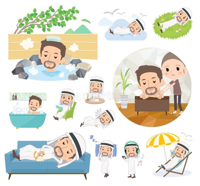 Men_relax de Kandura do árabe ilustração stock