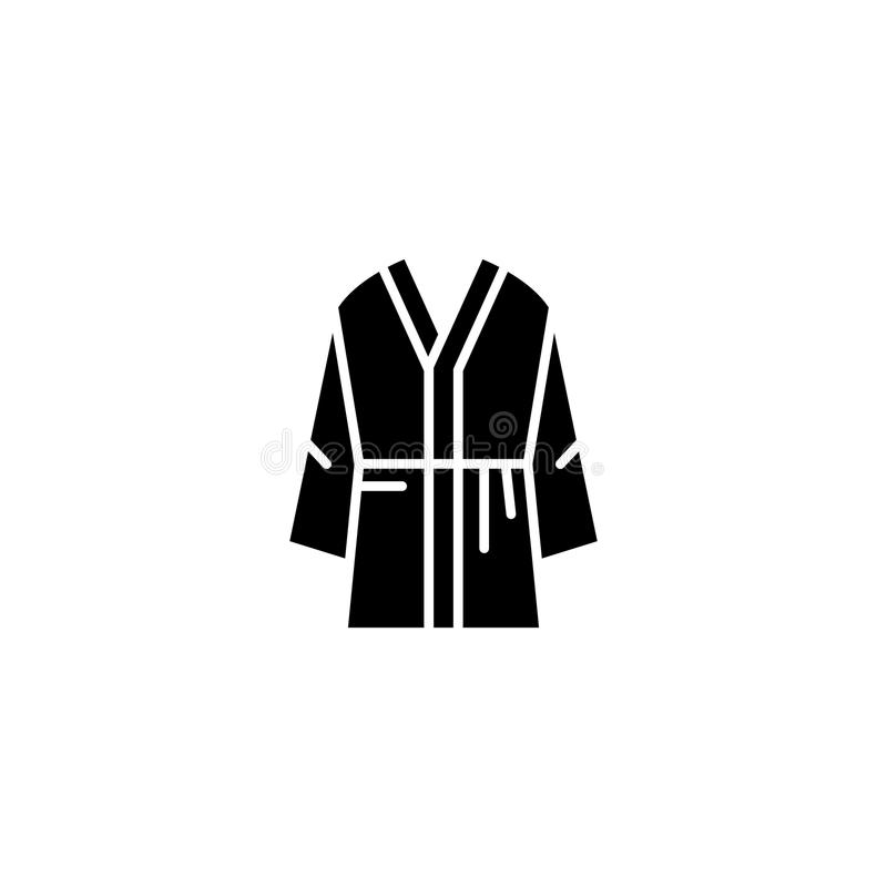 Men robe black icon concept. Men robe flat vector symbol, sign, illustration. royalty free illustration