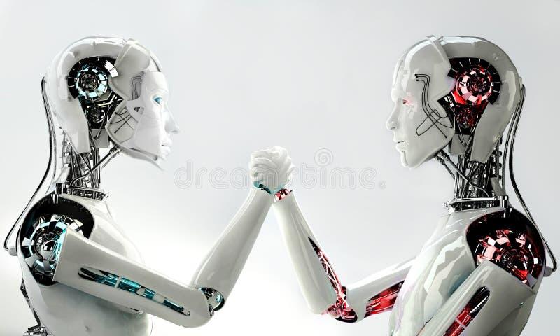 Men robot vs women robot vector illustration
