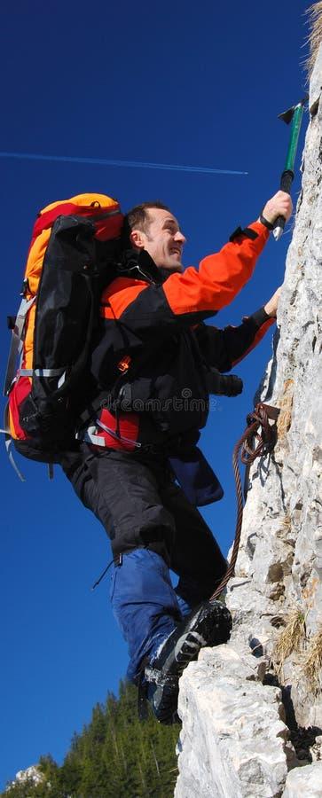 Men rock climbing romania stock photo