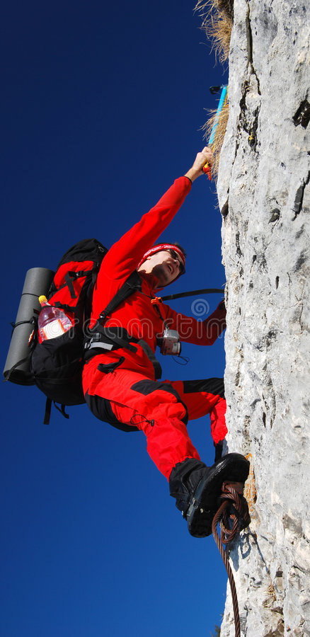 men rock climbing romania royalty free stock image