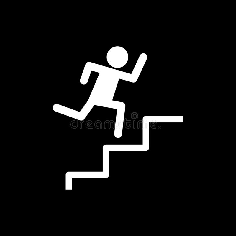 Men running up stairs for web icons and symbols on a black background. And flat stock illustration