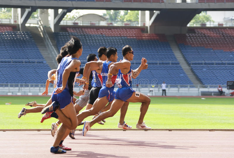 Men's 100 Meters for Blind Persons royalty free stock images