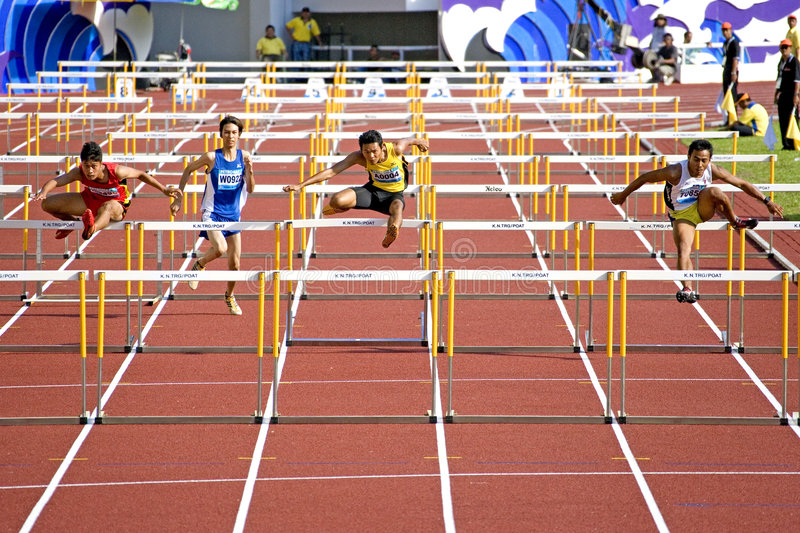 Download Men's 110 Meters Hurdles editorial stock photo. Image of compete - 5557838