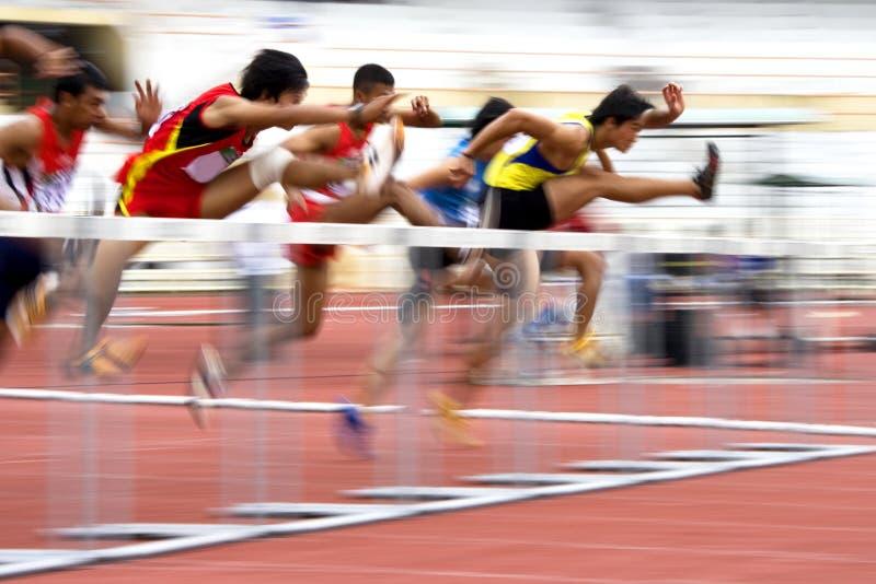 Men S 110 Meters Hurdles Action (Blurred) Stock Photos