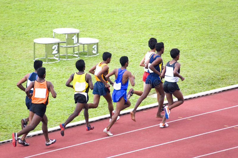 Men's 3000 Meters Steeplechase. Athletes competing in the men's 3000 meters steeplechase competition stock images