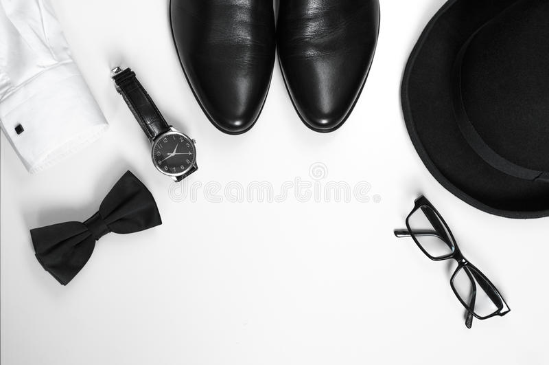 Men's accessories men's shoes, watches, glasses, bow tie, sleeve shirt and hat stock photos