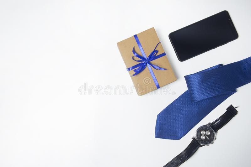 Men`s accessories. Watch, tie, phone. Gift for men. Copy space royalty free stock images