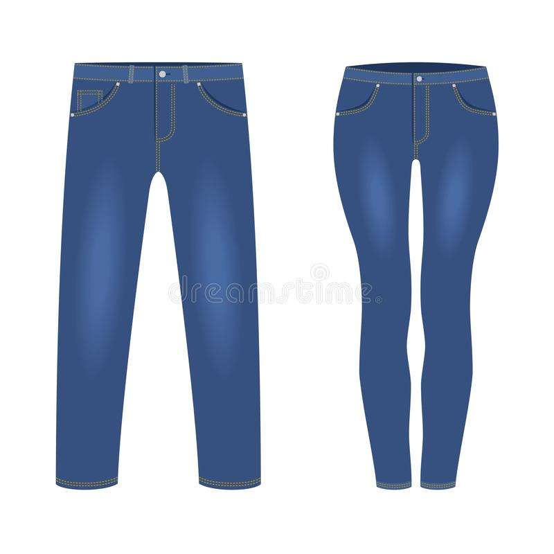 Free Men`s And Women`s Dark Blue Denim Jeans Pants Isolated On White Background. Trendy Fashion Denim Casual Clothes, Jeans Stock Photos - 140578253