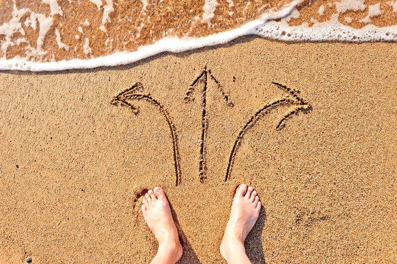Download Mens Bare Feet In Sand And Arrows Stock Photo - Image of beginnings, foot: 32122678