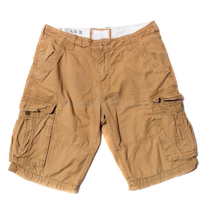 Beige Cargo Shorts. Men`s Beige Cargo Shorts on white background royalty free stock photography