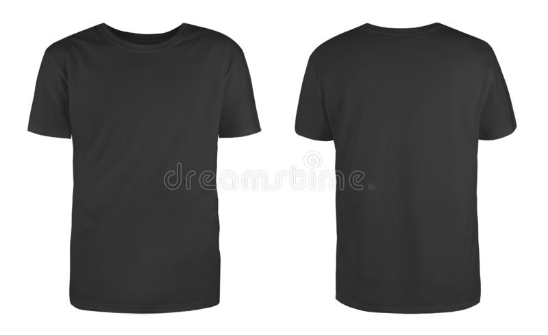 Men`s black blank T-shirt template,from two sides, natural shape on invisible mannequin, for your design mockup for print, isolat. Ed on white background stock image