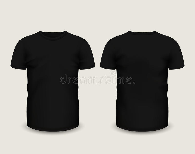 Men's black t-shirt short sleeve in front and back views. Vector template. Fully editable handmade mesh royalty free illustration