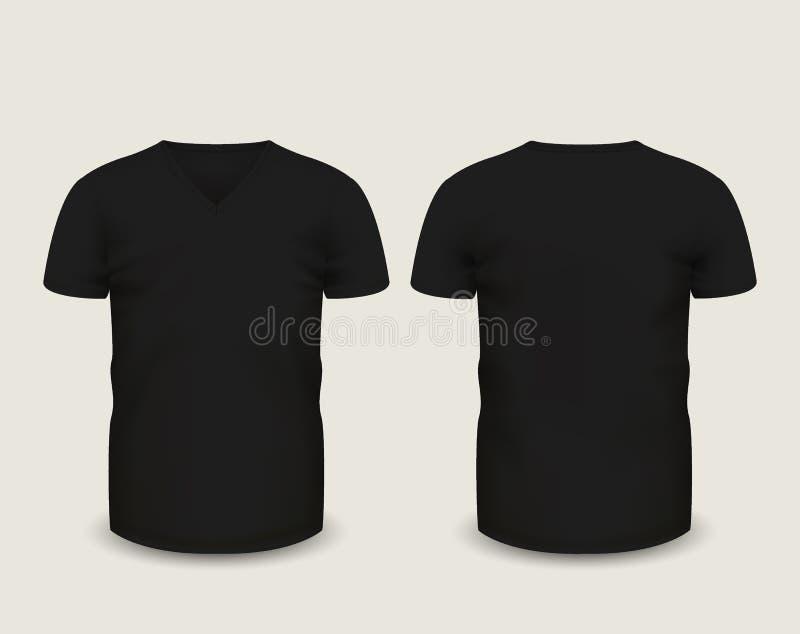 Men\'s Black V-neck T-shirt Short Sleeve In Front And Back Views ...