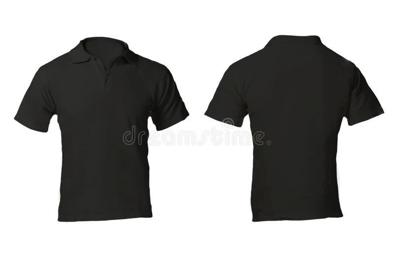 Men's Blank Black Polo Shirt Template. Men's Blank Black Polo Shirt, Front and Back Design Template royalty free stock photos