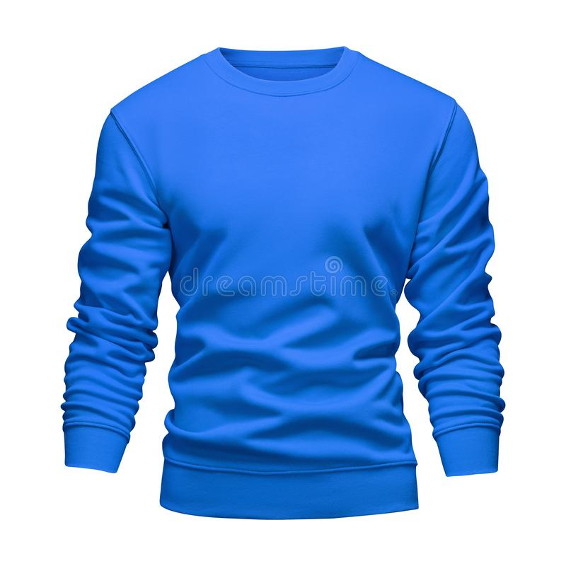 Men`s blank mockup blue sweatshirt wavy concept with long sleeves isolated white background. Front view empty template pullover stock photos