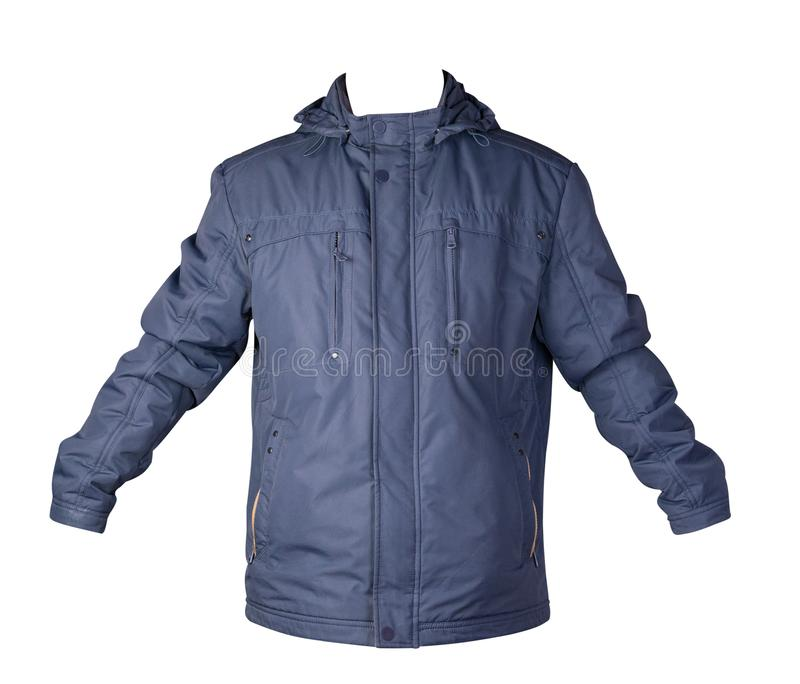 Men`s jacket in a hood isolated on a white background. Windbreaker jacket front view. Men`s blue  jacket in a hood isolated on a white background. Windbreaker royalty free stock photography