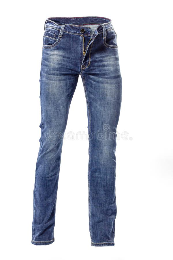 Men`s blue jeans isolated on white background. Close up royalty free stock photography