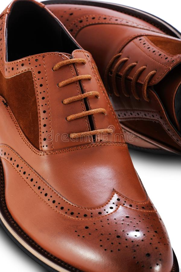 Men`s brown brogue leather shoes on a white background royalty free stock image