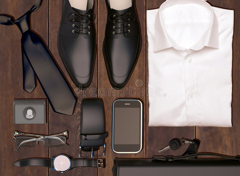 Men's business clothes and accessories on wooden background. stock photo