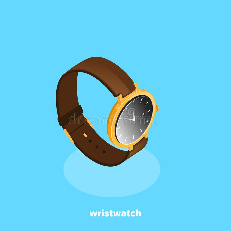 Men`s classic watch with leather strap, isometric. Image vector illustration