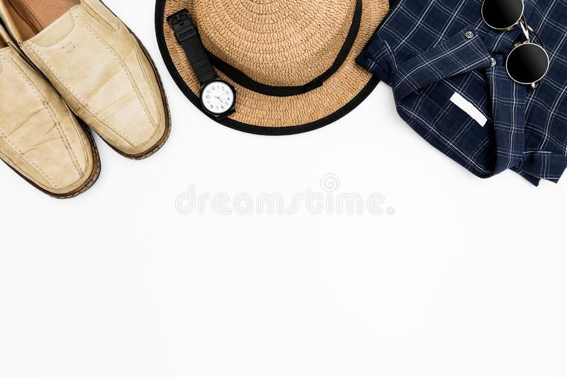Men`s clothes with brown shoes, blue shirt and sunglasses on white background, Men`s casual outfits for man clothing set, Flat l royalty free stock photos