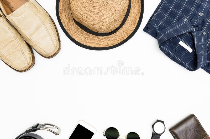 Men`s clothes with brown shoes, blue shirt and sunglasses on white background, Men`s casual outfits for man clothing set, Flat l stock photo