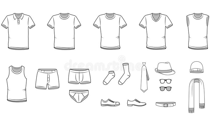 Men's clothes. Garment illustration. Includes Underwear and Accessories. Vector illustration royalty free illustration