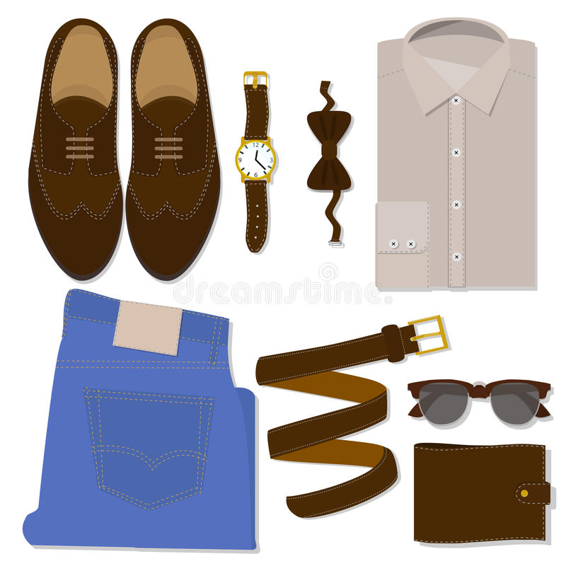 Men's clothes set. flat vector icons stock image