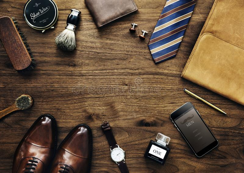 Men`s collection of daily use business accessories royalty free stock images