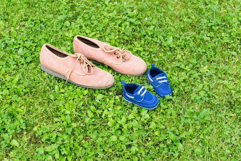 Footwear on grass royalty free stock photos