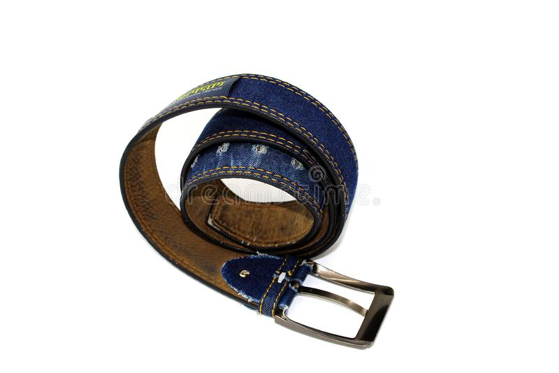 Men`s denim belt blue on white background stock image