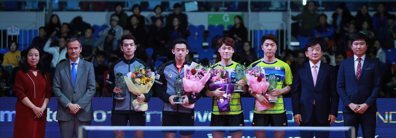Men`s Doubles Awards. Men`s Doubles - Finals - Gold Medal Match, JANG Woojin KOR and LIM Jonghoon KOR beat HO Kwan Kit HKG and WONG Chun Ting HKG 3/2. 2018 Pro stock image