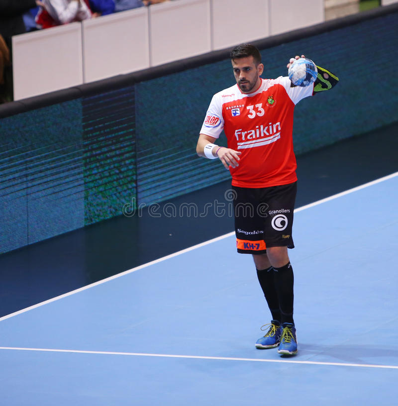 MEN'S EHF CUP DINAMO BUCHAREST - FRAIKIN BM. GRANOLLERS. Fernando Pacheco Magalhaes from Fraikin BM. Granollers in action during handball EHF Cup between stock photography