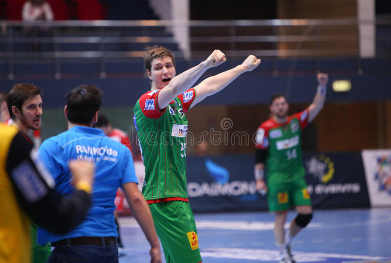 Men's EHF Cup Dinamo Bucharest - SC Magdeburg. Finn Lemke from SC Magdeburg reacts for victory after Men's EHF Cup match between romanian team Dinamo Bucharest royalty free stock photo