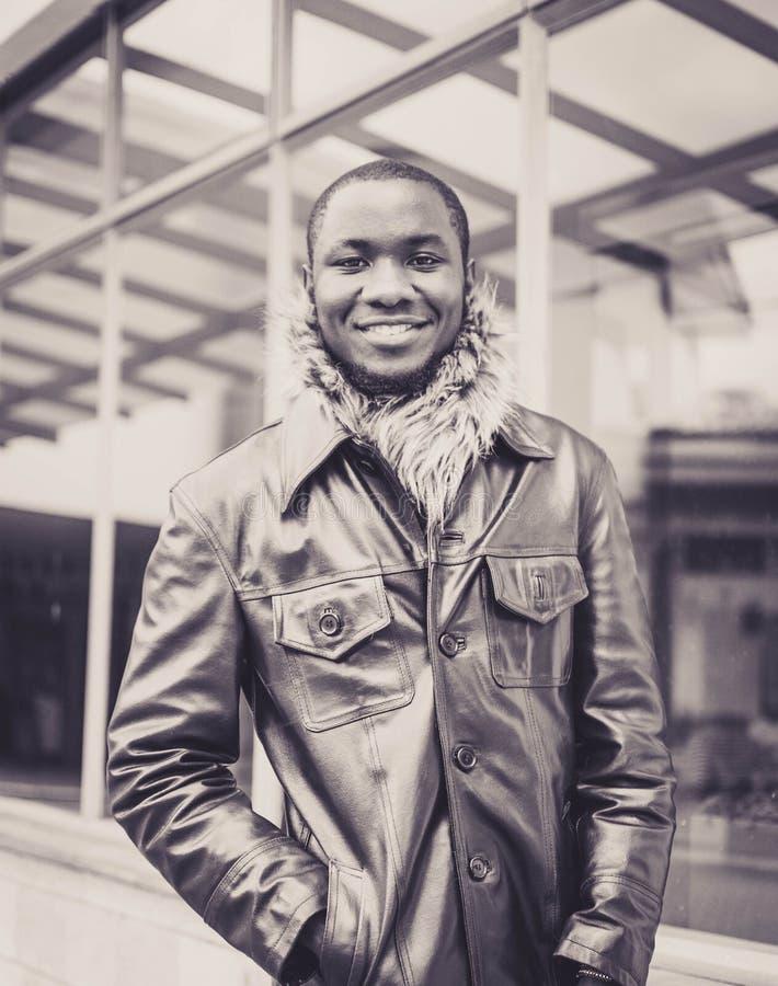 Men' ; s en Gray Leather Jacket photo stock