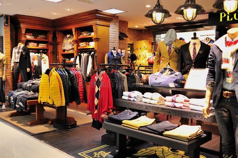 Men's fashion clothes shop stock photos
