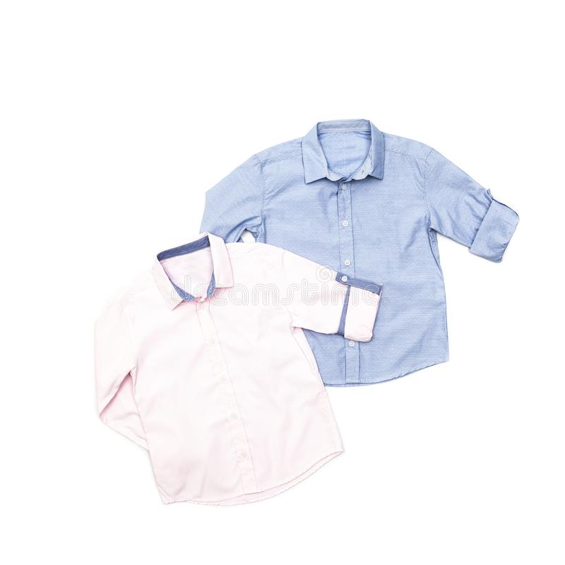 Men`s fashion long sleeve shirts for children royalty free stock image