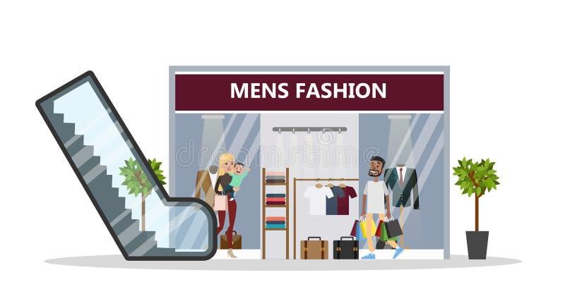 Men`s fashion at mall. stock illustration