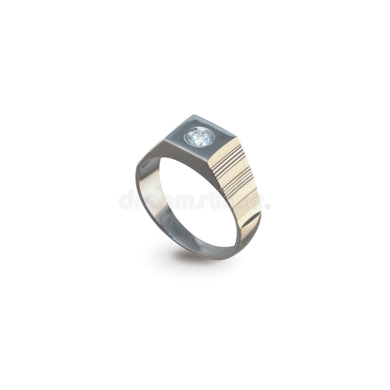 Men's golden ring with diamonds on a white stock photo