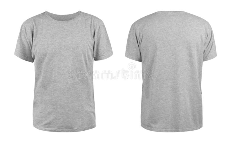 Men`s grey blank T-shirt template,from two sides, natural shape on invisible mannequin, for your design mockup for print, isolate. D on white background royalty free stock photos