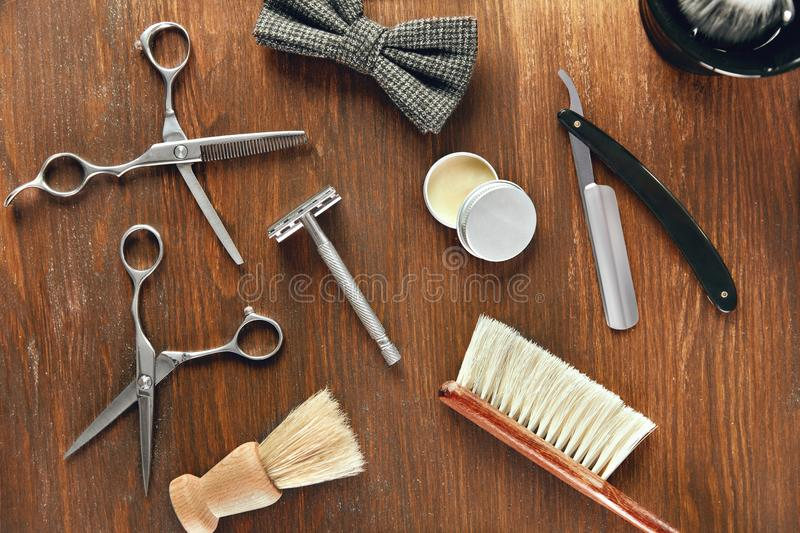 Men`s Grooming Tools. Barber Shop Equipment And Supplies. On Wood Table. Men Hair Salon Tools. High Resolution royalty free stock photos