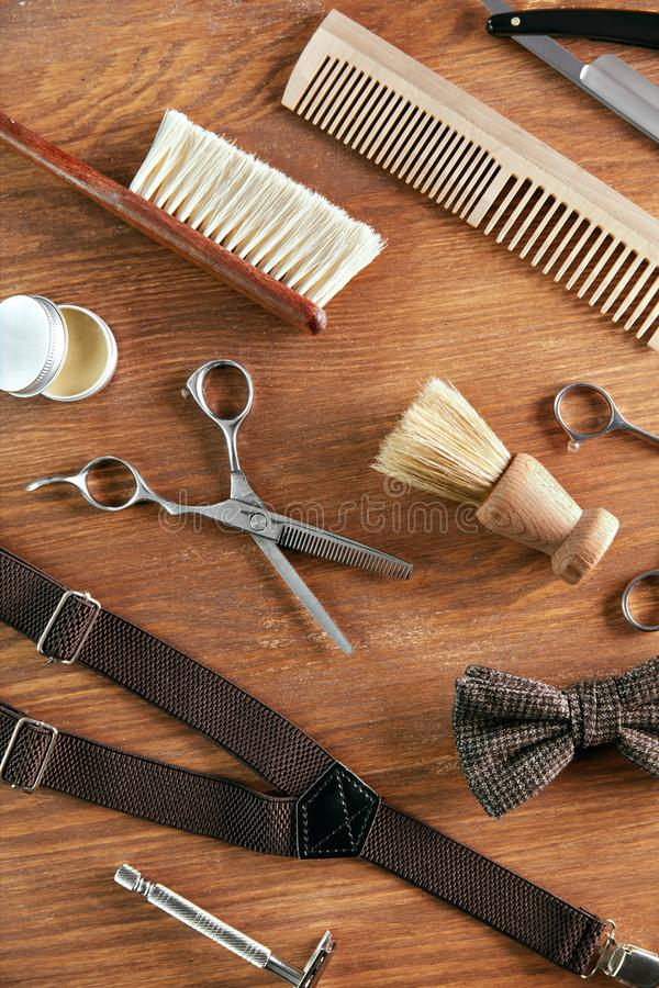 Men`s Grooming Tools. Barber Shop Equipment And Supplies. On Wood Table. Men Hair Salon Tools. High Resolution royalty free stock images