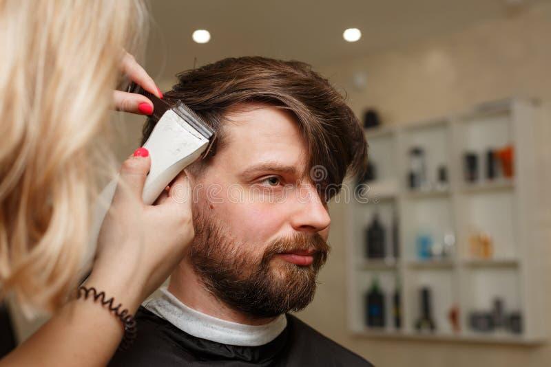 Men`s haircut stock photo