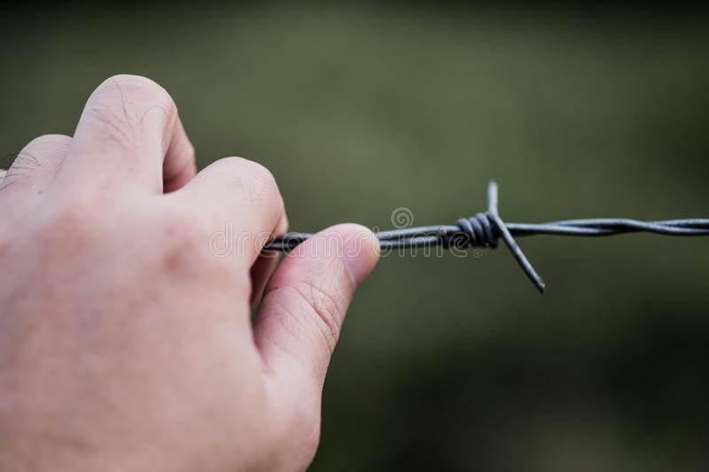 Men `s hand on the barbed wire, selective focus. Men `s hand on the barbed wire with blurred background, selective focus royalty free stock images