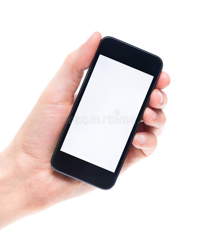 Blank mobile phone in hand isolated royalty free stock photography